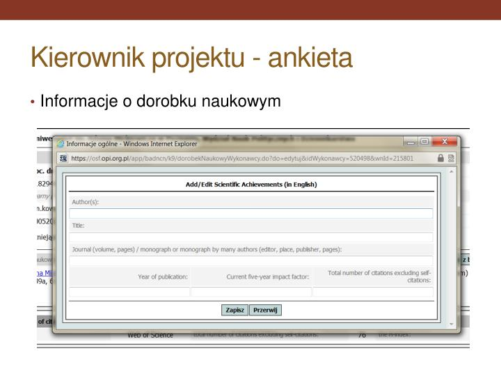 Kierownik projektu - ankieta