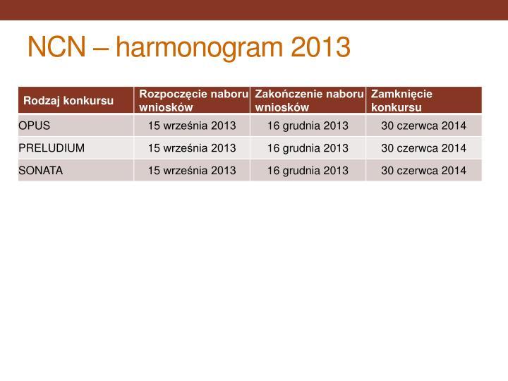 NCN – harmonogram 2013