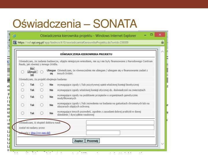 Oświadczenia – SONATA
