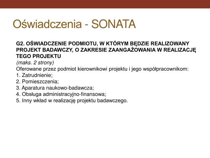 Oświadczenia - SONATA