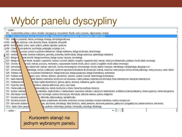 Wybór panelu dyscypliny