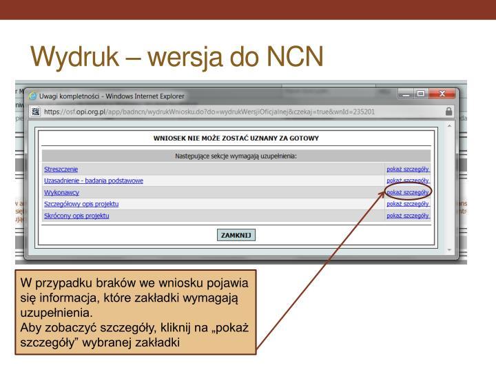 Wydruk – wersja do NCN