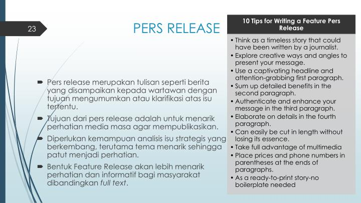 PERS RELEASE