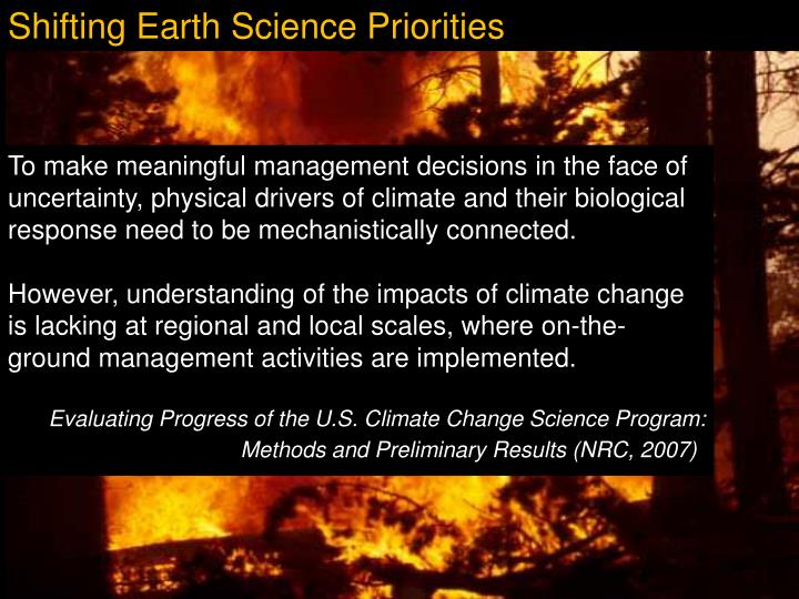Shifting Earth Science Priorities