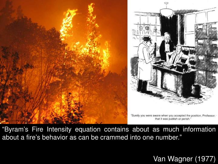 """""""Byram's Fire Intensity equation contains about as much information about a fire's behavior as can be crammed into one number."""""""
