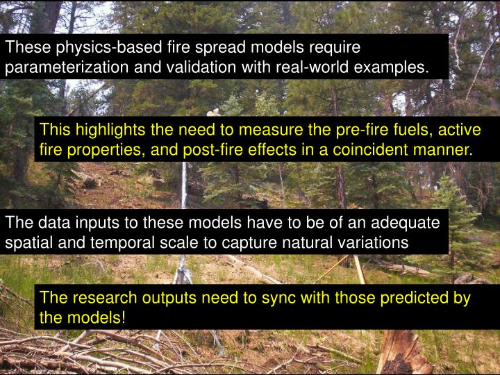 These physics-based fire spread models require parameterization and validation with real-world examples.