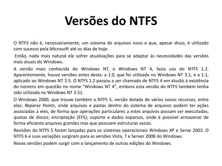 Versões do NTFS