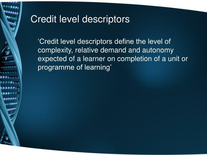 Credit level descriptors