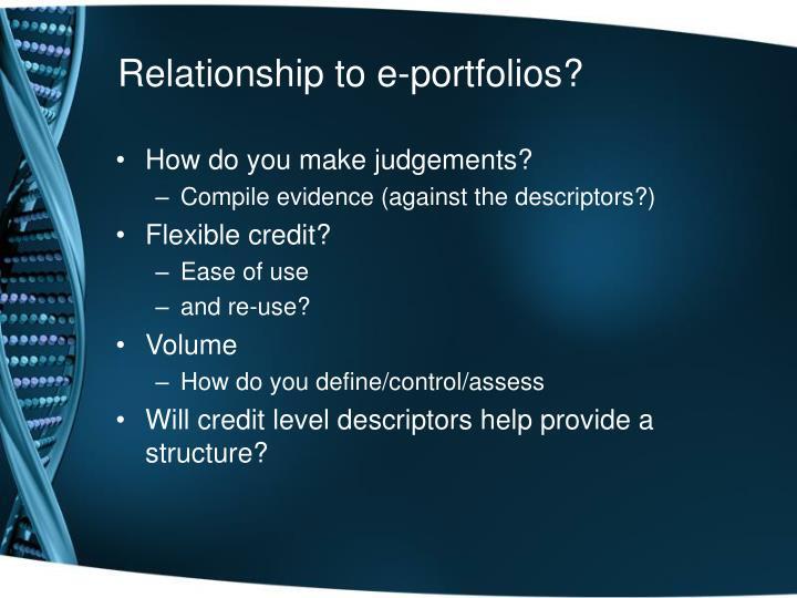 Relationship to e-portfolios?
