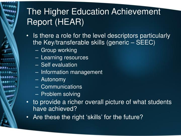 The Higher Education Achievement Report (HEAR)