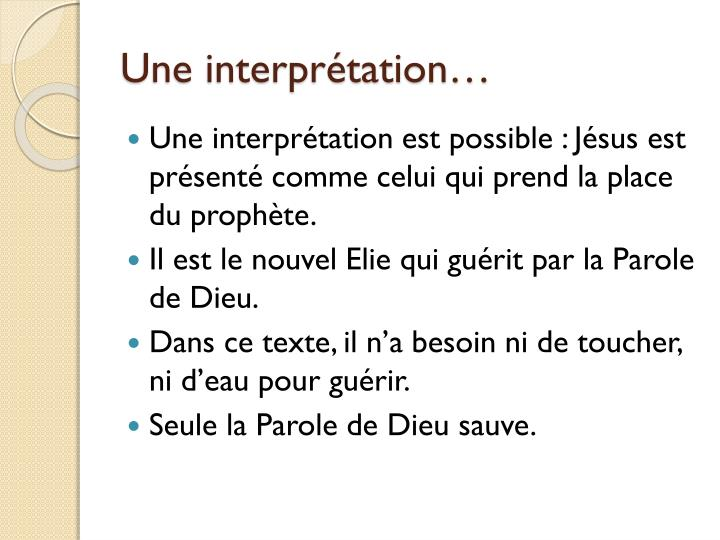 Une interpr tation