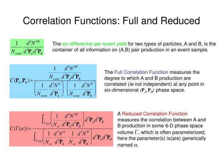 Correlation functions full and reduced