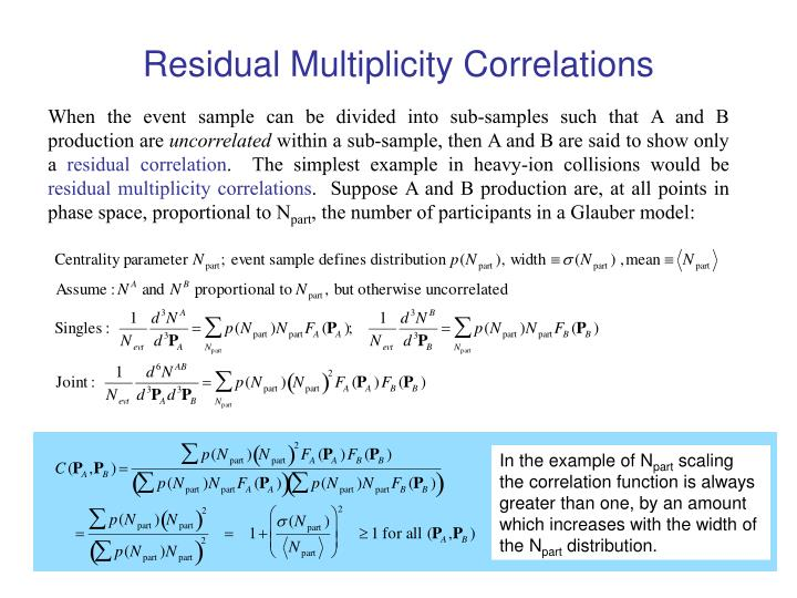 Residual multiplicity correlations