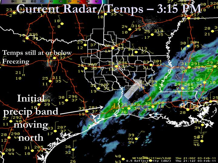 Current Radar/Temps – 3:15 PM