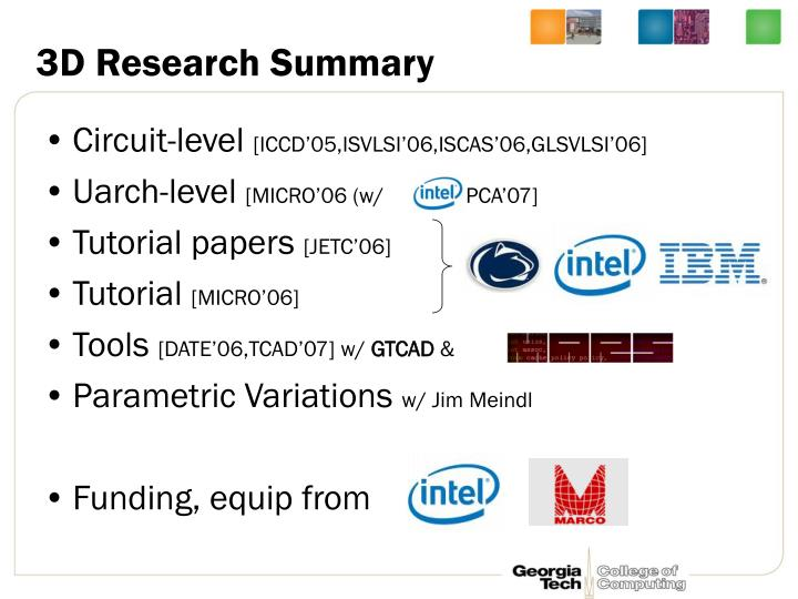 3D Research Summary