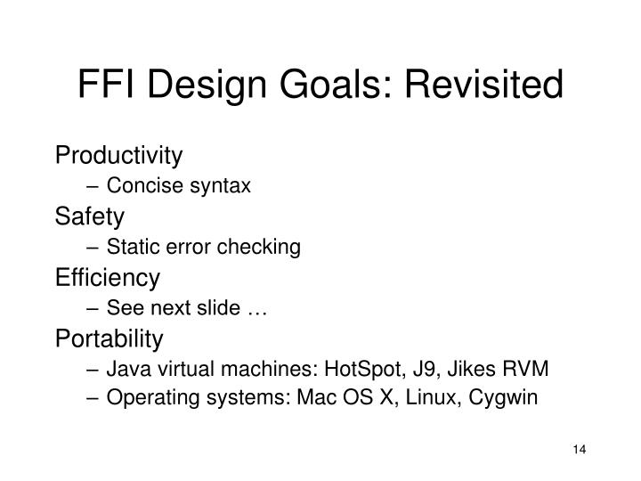 FFI Design Goals: Revisited