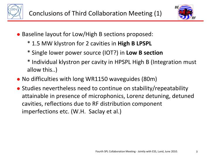 Conclusions of Third Collaboration Meeting (1)