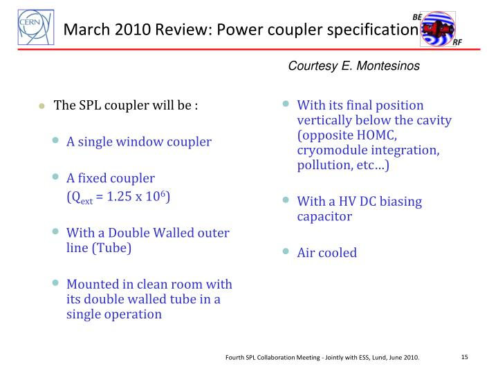 March 2010 Review: Power coupler specification