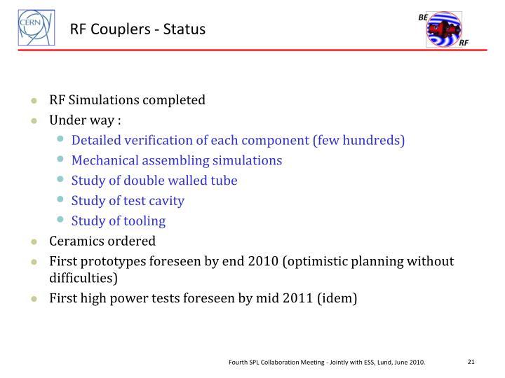 RF Couplers - Status