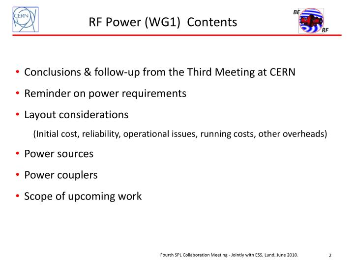 RF Power (WG1)  Contents