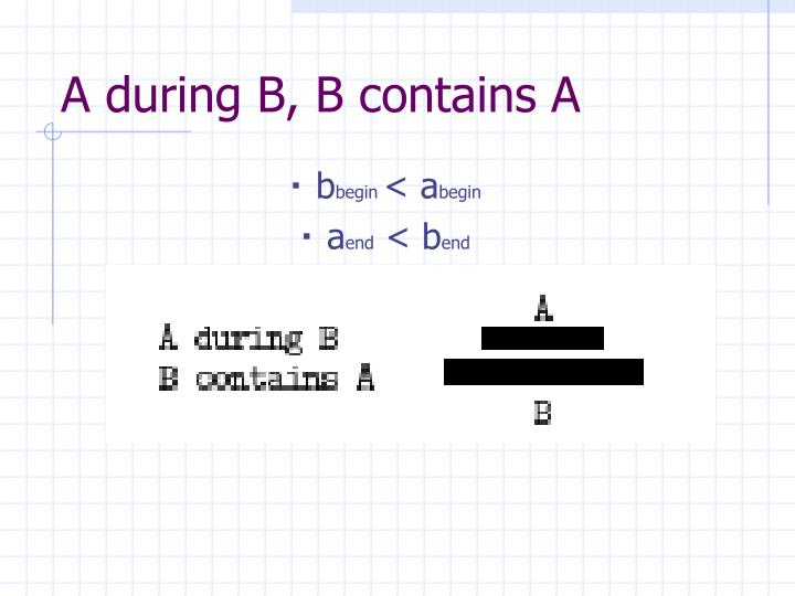 A during B, B contains A