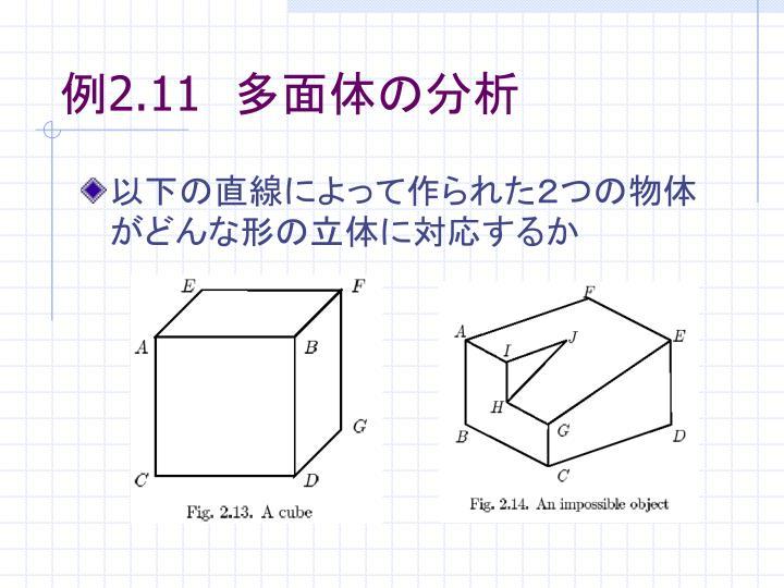 例2.11 多面体の分析