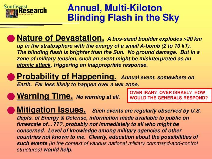 Annual, Multi-Kiloton Blinding Flash in the Sky