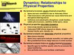 dynamics relationships to physical properties