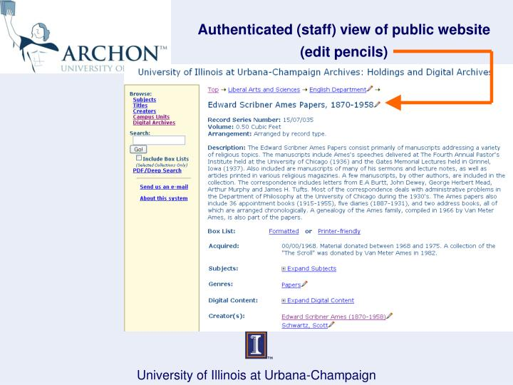 Authenticated (staff) view of public website