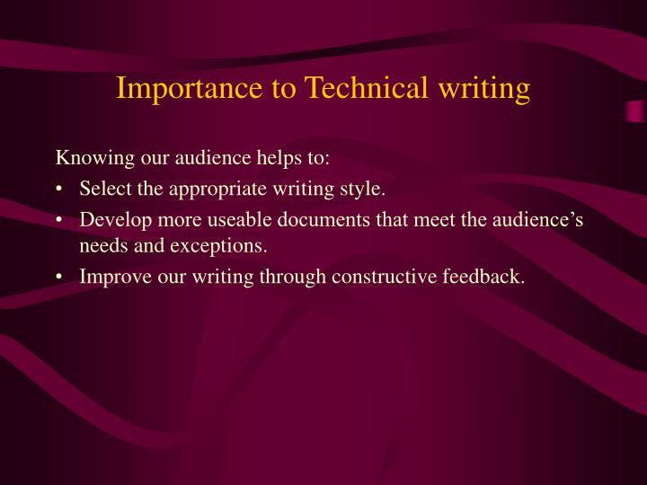 Importance to Technical writing