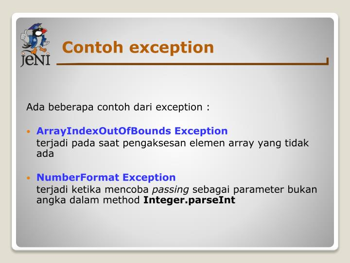 Contoh exception
