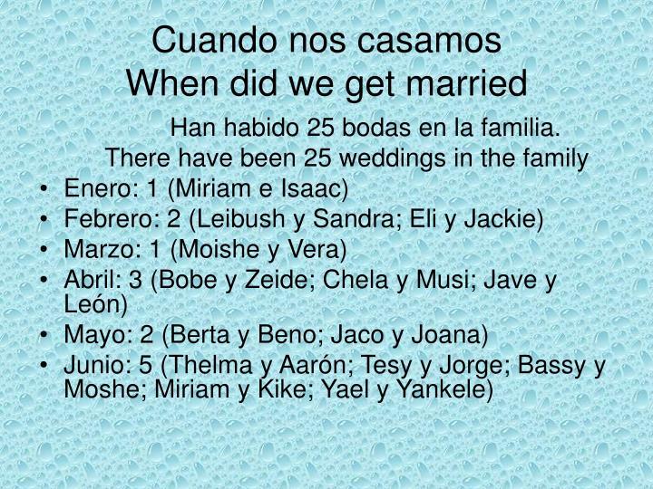 Cuando nos casamos