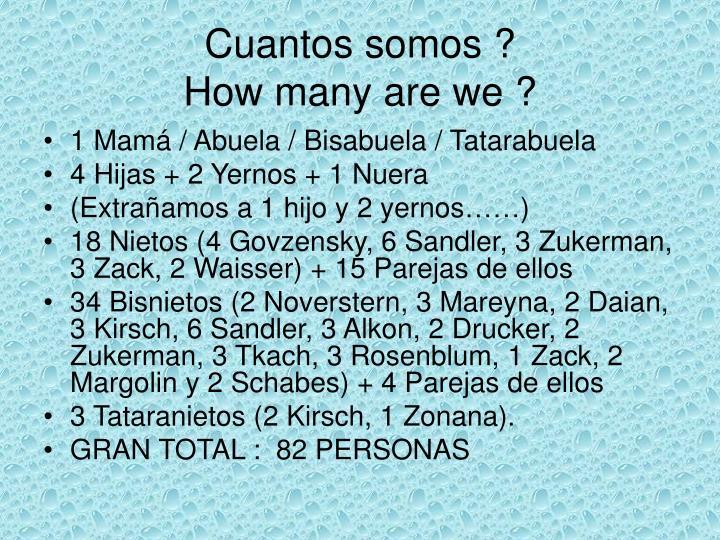 Cuantos somos ?
