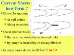 current sheets how form