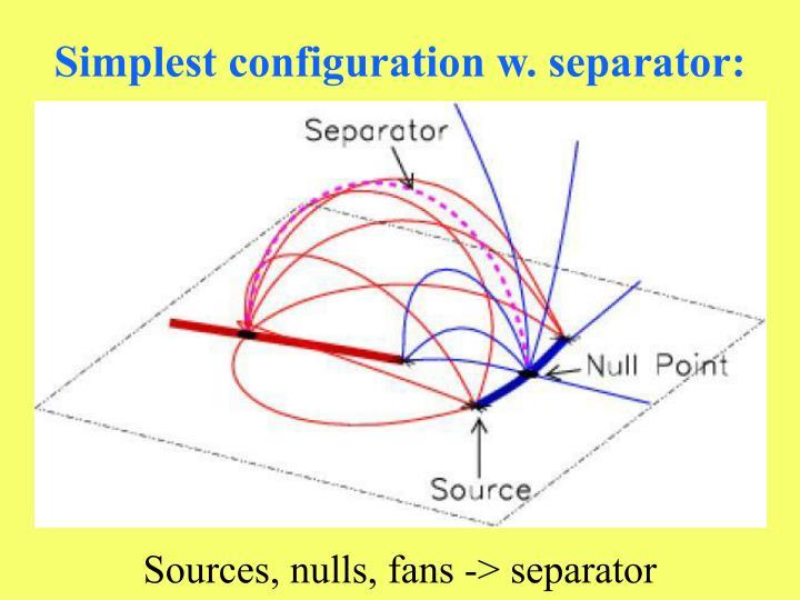 Simplest configuration w. separator: