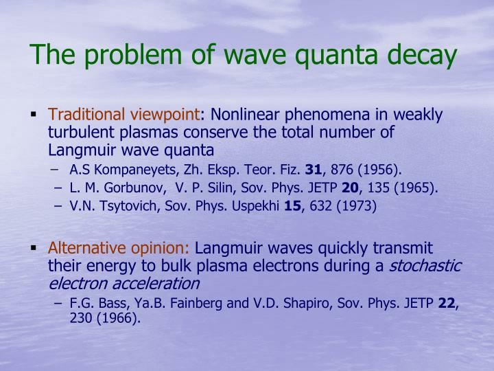 The problem of wave quanta decay