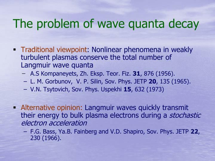 The problem of wave quanta decay
