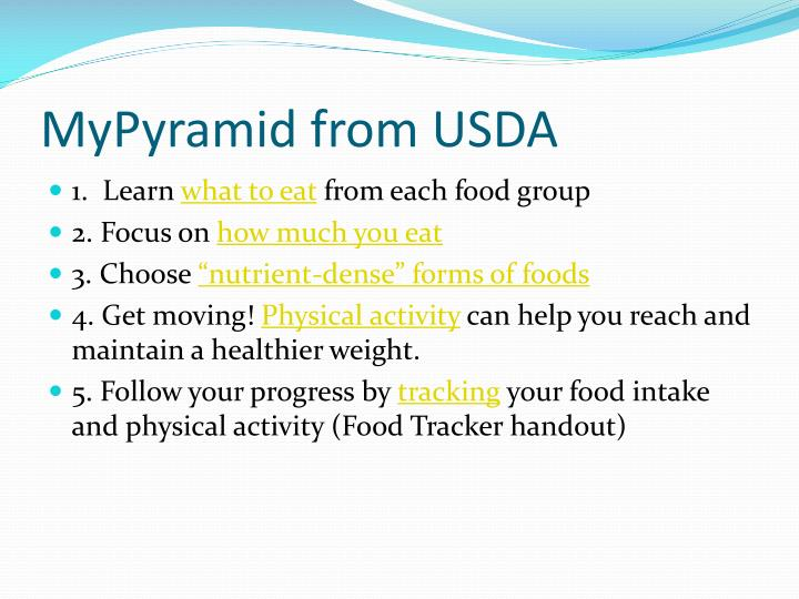 MyPyramid from USDA