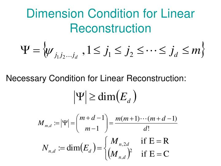 Dimension Condition for Linear Reconstruction