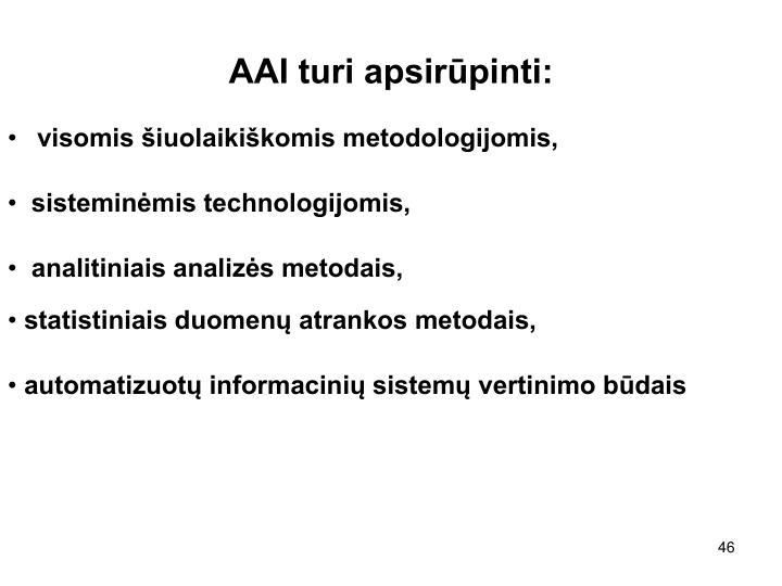 AAI turi apsirūpinti:
