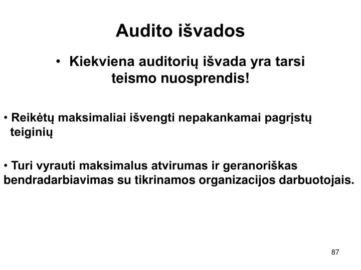 Audito išvados