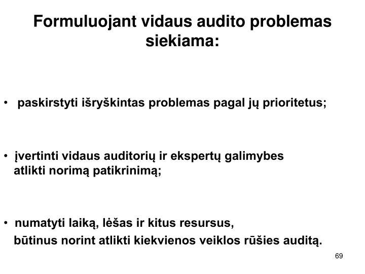 Formuluojant vidaus audito problemas siekiama:
