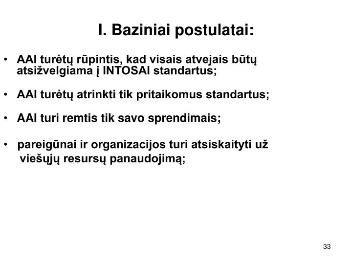 I. Baziniai postulatai: