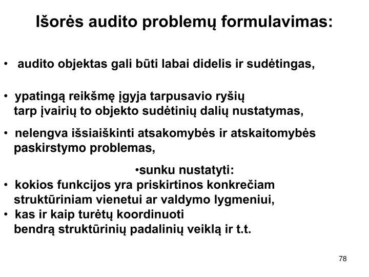 Išorės audito problemų formulavimas: