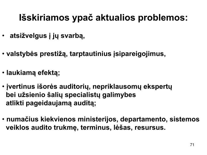 Išskiriamos ypač aktualios problemos: