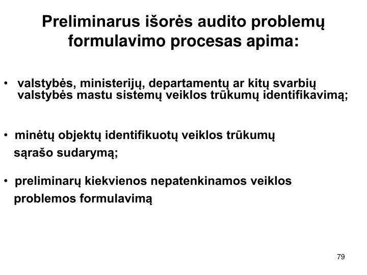 Preliminarus išorės audito problemų formulavimo procesas apima: