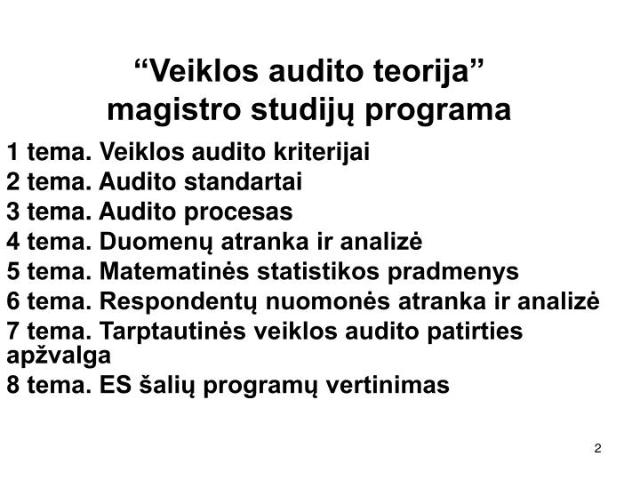 """Veiklos audito teorija"""