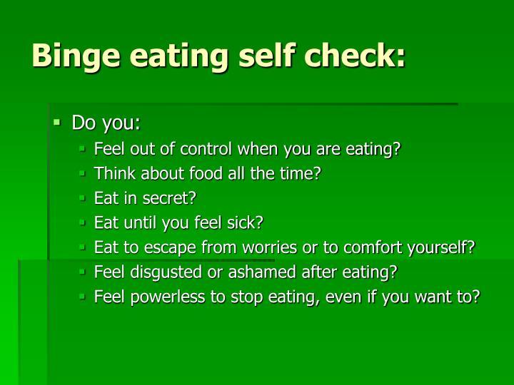 Binge eating self check: