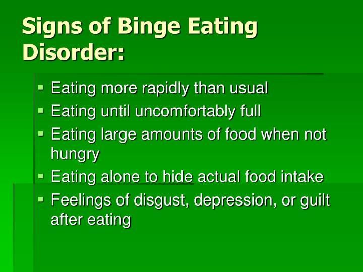 Signs of Binge Eating Disorder: