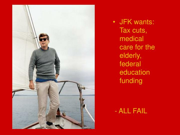 JFK wants: Tax cuts, medical care for the elderly, federal education funding